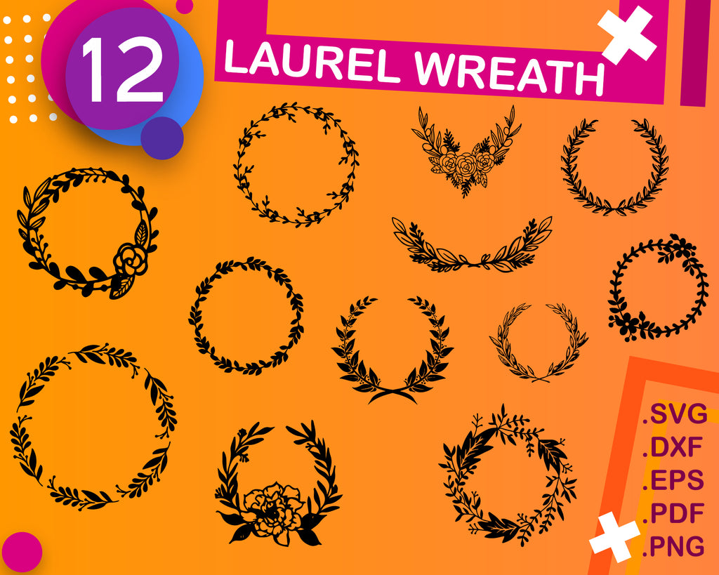 Laurel wreath svg, Wreath Svg, Monogram SVG, Monogram Frame SVG, Laurel Wreath SVG, Wreath Svg, Wreath Svg Bundle, Handdrawn Frames, Frame Svg