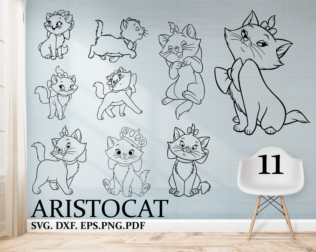 Cat svg, Kitten SVG, Animals silhouette, cats, cute kids print file, girl prints, svg, eps, png, pdf, dxf