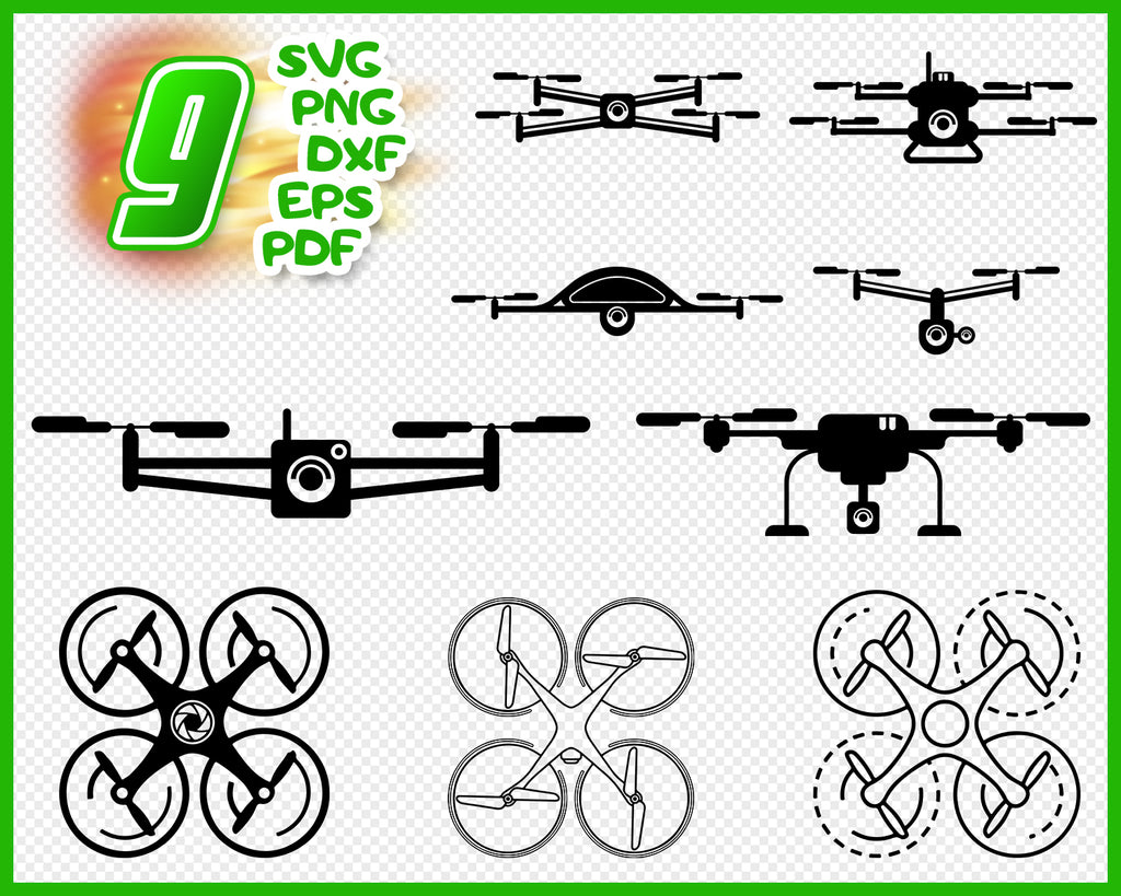 Drone svg bundle, Drone svg files, Drone clipart, Drone png, Drone silhouette, Drone pilot svg, Drone Cricut, Drone cut, vector files eps, dxf, svg, png, pdf
