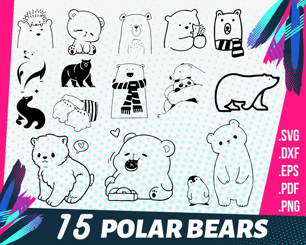 Polar Bears svg, Polar Bear #5 SVG, Polar Bear SVG, Bear Svg, Polar Bear Clipart, Polar Bear Files for Cricut, Polar Bear Cut Files For Silhouette, Dxf, Png