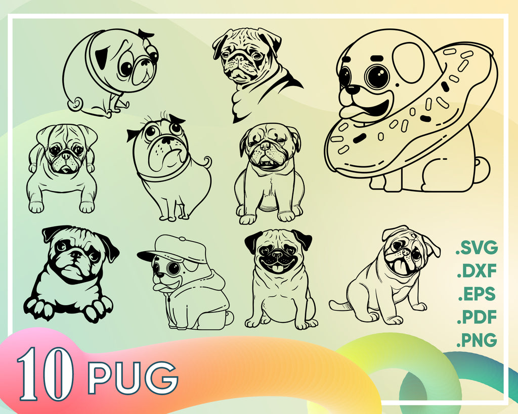 Pug svg, Pugging Fabulous, Pug SVG, Dog Svg, SVG cutting file, Cricut, kawaii, Dxf, PNG, Vinyl, Eps, Cut Files, Clip Art, Vector, Quote, Saying