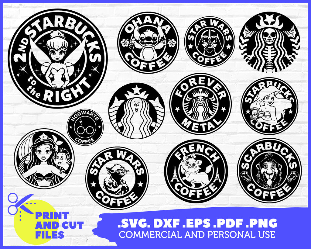 Coffee Svg Round Coffee Characters Drinks Bundle Mermaid Vector Fil Clipartic