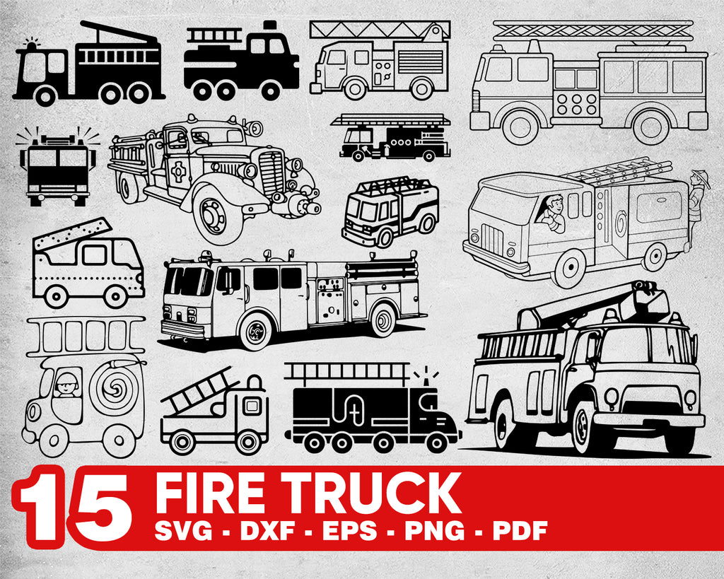 Fire Truck svg, Fire Truck Svg Fire Engine Cutting File firetruck Clipart Printable Image Scrapbooking SVG DXF Engraving Element Fire Truck Vector