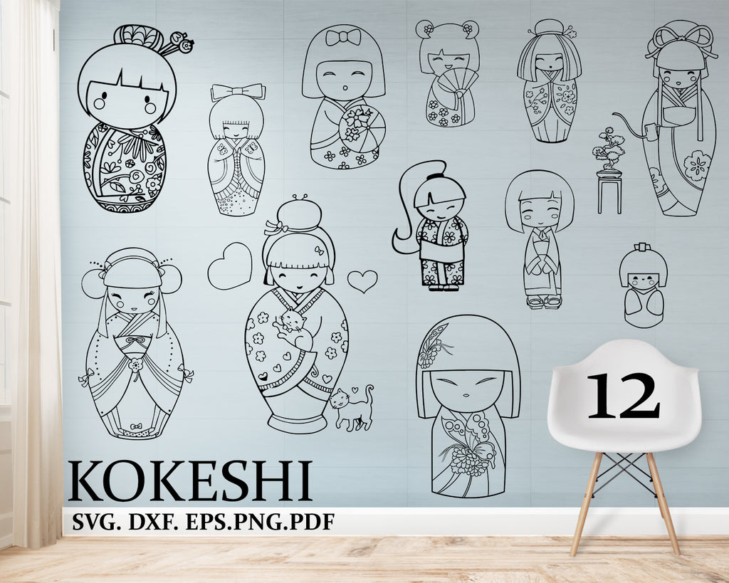 Kokeshi svg, Cutting files, Digital, EPS, Vinyl, cut, Design files, Instant Download, Personal Commercial use, Designs