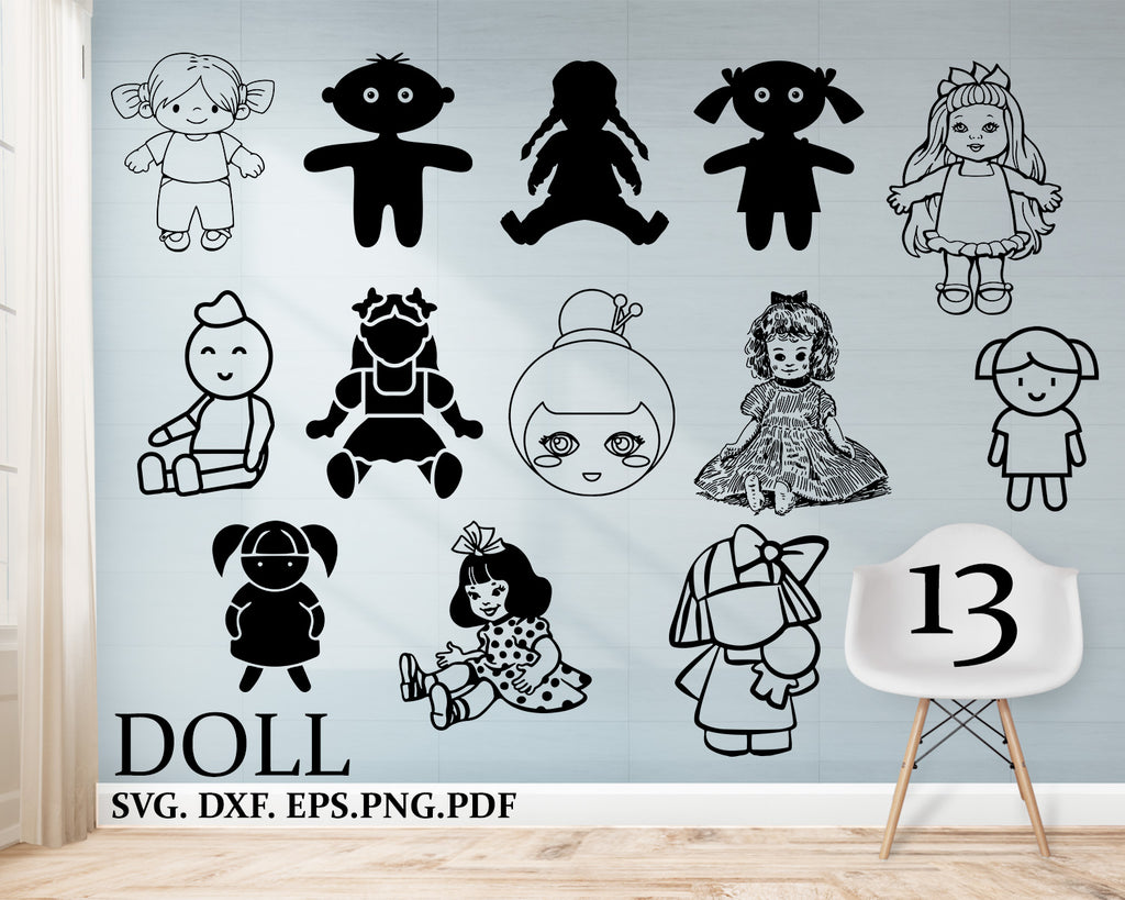 Doll svg, doll clipart, hand drawn, toys svg, baby svg, clipart, dxf, png, Cricut Files, Silhouette Cut File