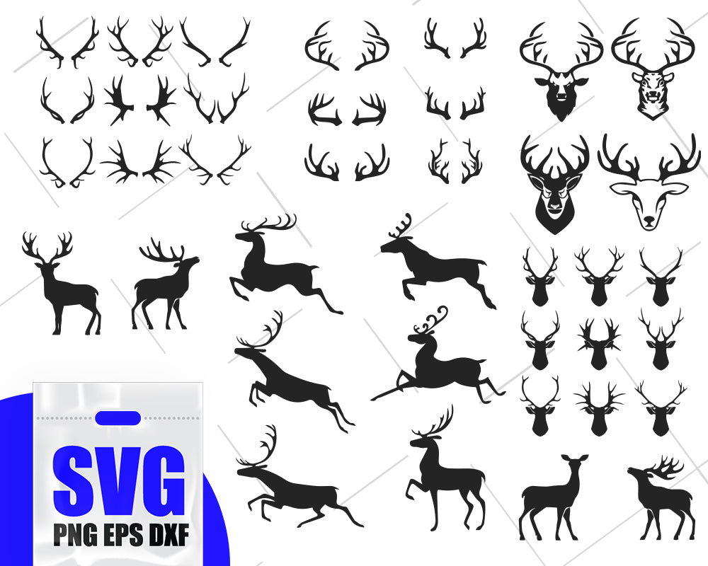 Deer svg, deer bundle svg, deer clip art, deer silhouette, deer cut files, deer cricut, deer vector