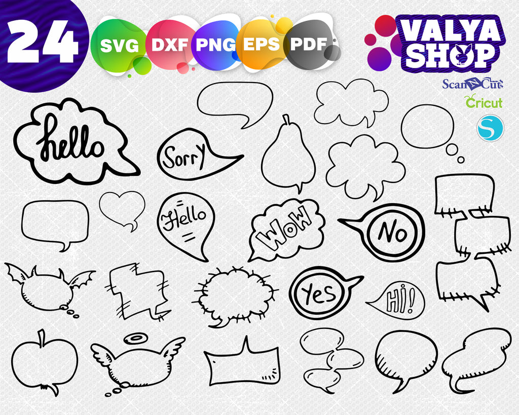 Speech Bubbles svg, Speech Bubbles Clipart, comic bubbles vector digital download files svg, png, dxf, eps