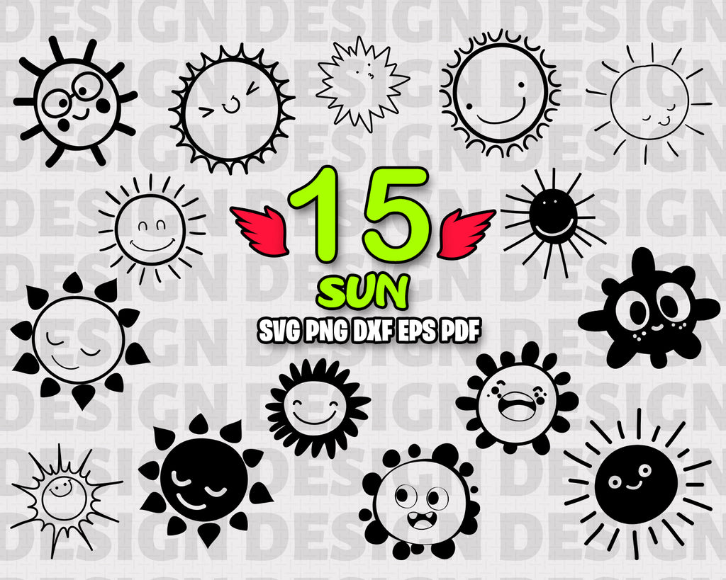 Sun SVG Bundle, Sun Vector, Sun Clipart, Sun Cut Files For Silhouette, Sun Files for Cricut, Sun Vector, Svg, Sun Dxf, Sun Png, Eps, Sun Vinyl Design