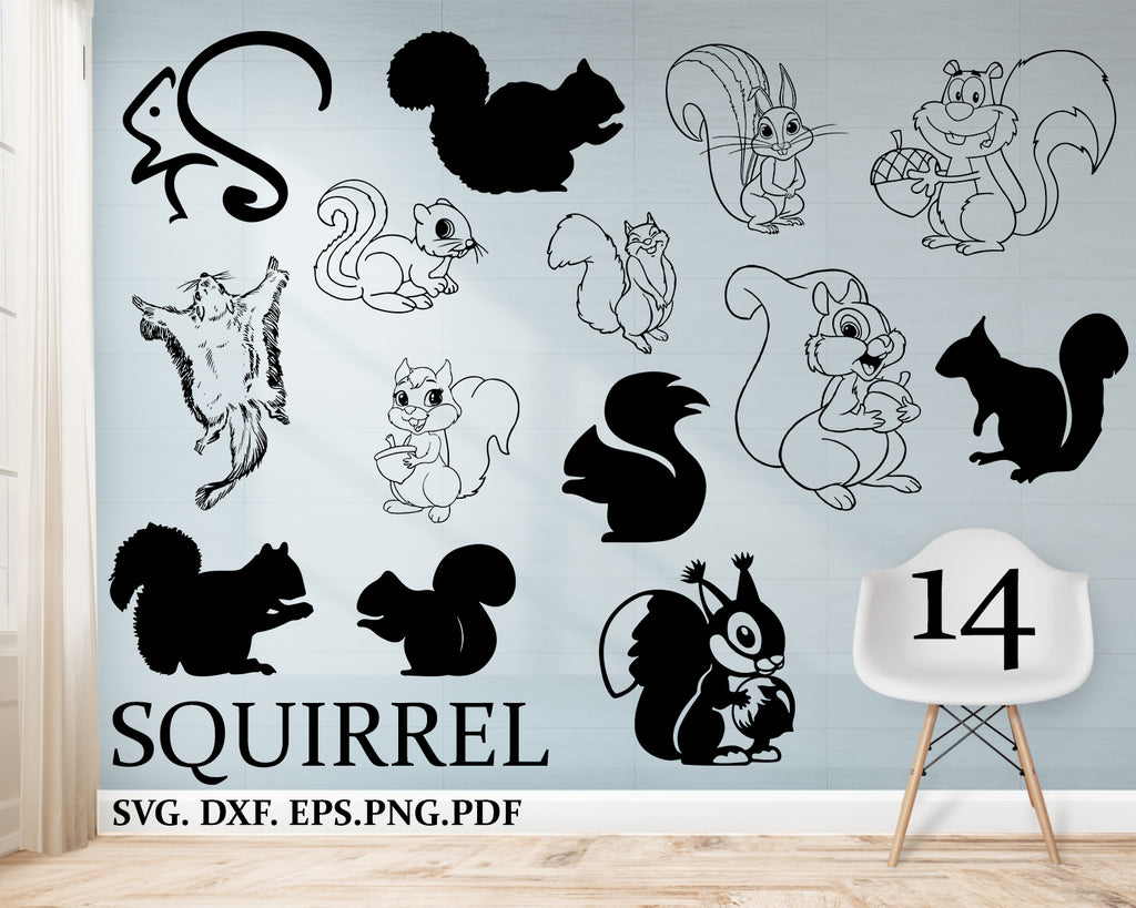 Squirrel svg Bundle, squirrel clipart, cut files for silhouette, files for cricut, squirrel vector, svg, dxf, png, eps, design