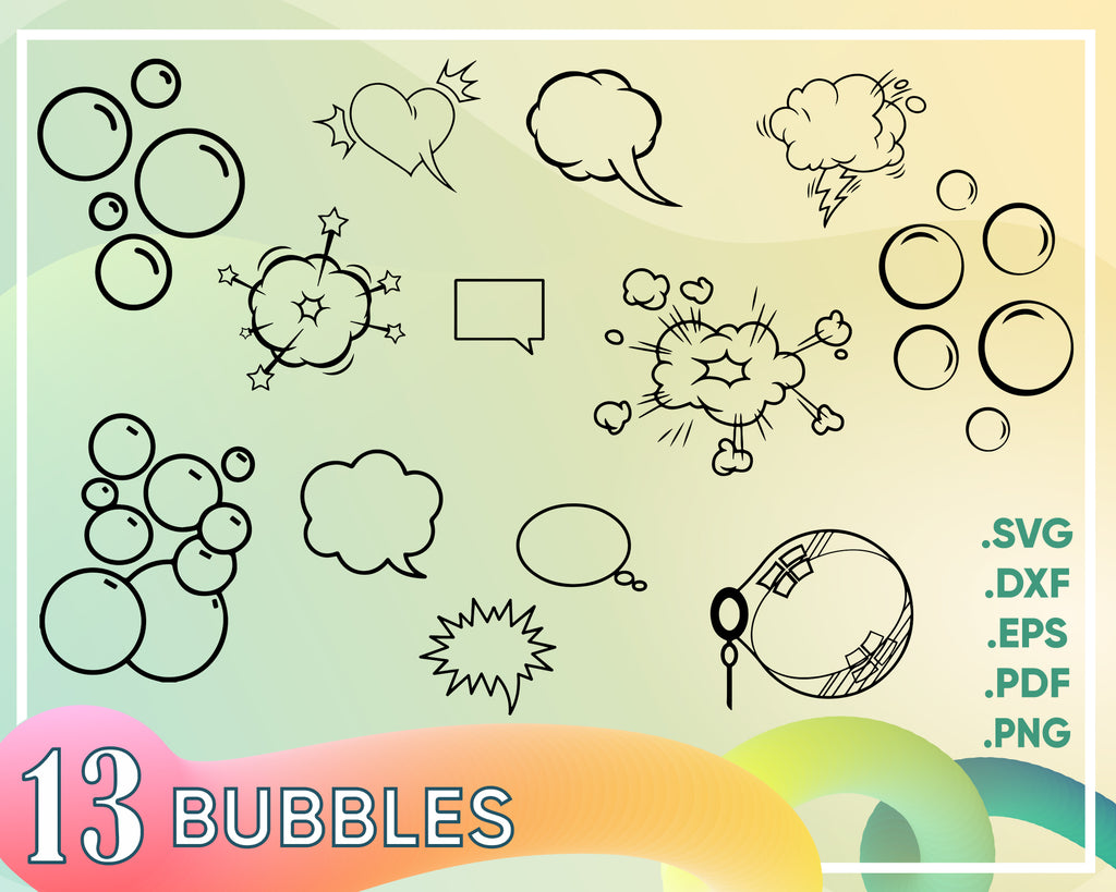 Bubbles svg, SPEECH BUBBLES SVG, bubbles clipart, bubble clipart, bubbles svg, bubble stencil, speech bubbles dxf, word bubble clipart, comic bubble svg