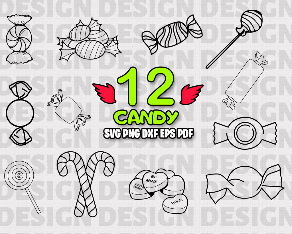 CANDY SVG, Candy Bundle, Candy Vector, Candy Clipart, Candy Cut Files For Silhouette, Files for Cricut, Candy Vector, Candies Svg, Dxf, Png, Vinyl Design, Instant Download