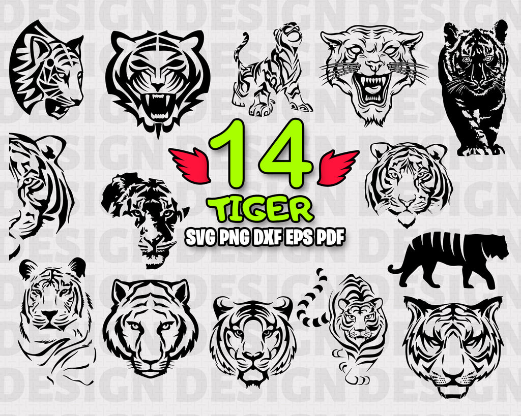 Tiger SVG/ tiger head svg/ animal svg/ zoo svg/ tiger silhouette/ wildlife clipart/ stencil/ vinyl cut files/ iron on files/ silhouette/ instant download