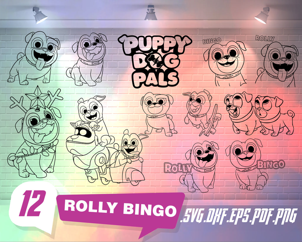 Rolly Bingo svg, Puppy Dog Pals Rolly And Bingo Very Happy Stitch Outline Svg ,Stitch silhouette ,Coloring page ,Svg Dxf Eps Pdf Png