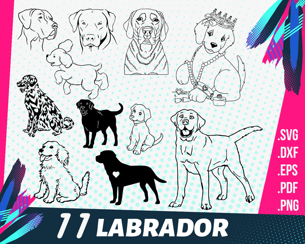 LABRADOR SVG, golden retriever svg, retriever svg, dog svg, puppy svg, pet svg, animal svg, png eps dxf cut file clipart cricut silhouett