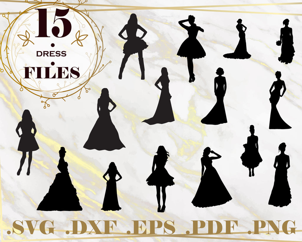 DRESS SVG, Dress Bundle, Dresses Clip Art, Dresses Silhouette, Dresses Vector, Wedding Dress Svg, Files for Silhouette Cameo, Cricut, Instant Download