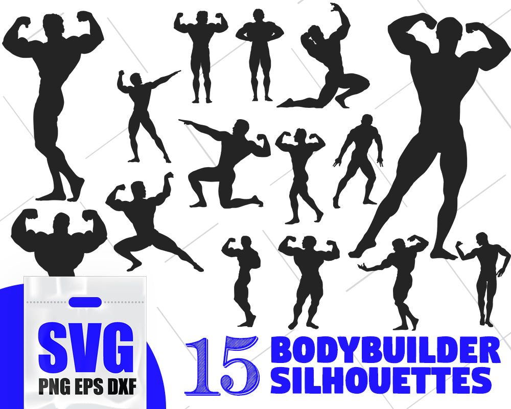 Bodybuilder silhouette, fitness svg, gym svg, workout svg, crossfit svg, bodybuilding svg, weight lifting svg, bodybuilder clipart,svg