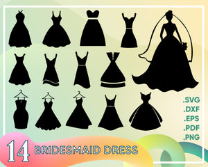 Bridesmaid dress svg, Bride svg Wedding Party, Bridesmaid SVG, DXF, eps,  png Files Cutting Machines Cameo, Cricut Bride svg, Bridesmaid svg,  Printable