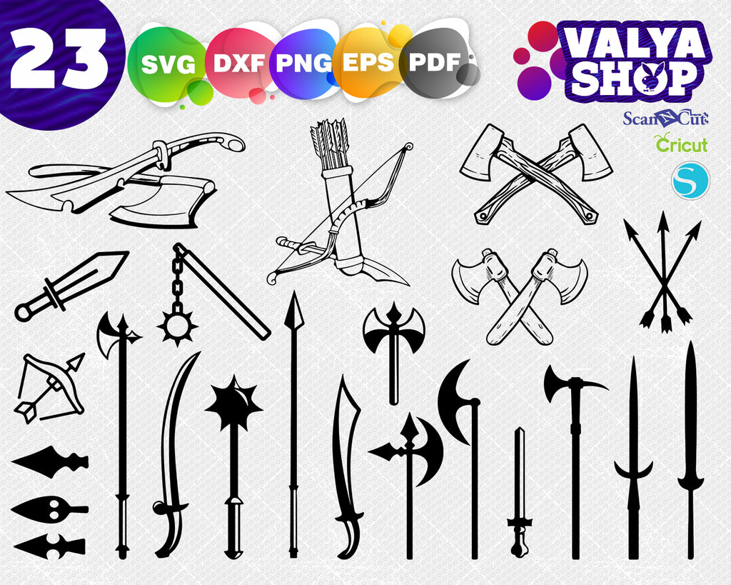 Medieval Weapon Svg Png Dxf, Medieval Weapon Vector Image, Medieval Weapon Svg Cutting File, Medieval Weapon Silhouette Cut File
