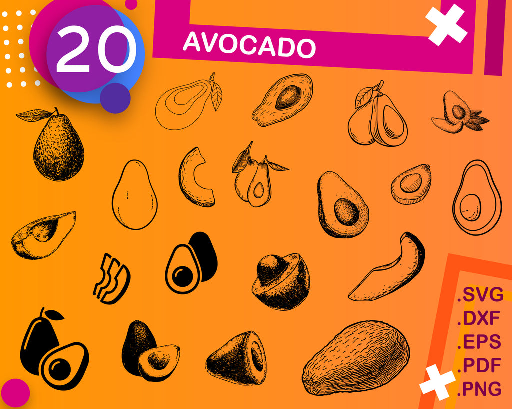 Avocado Svg Avocado Cricut Avocado Silhouette Avocado Vector Avoca Clipartic