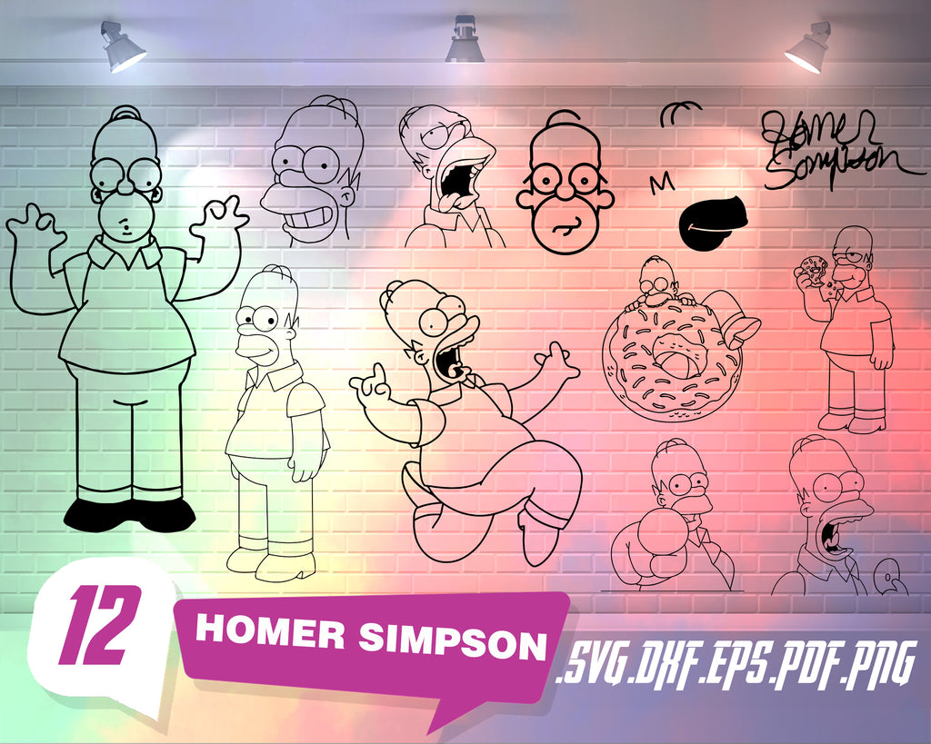 HOMER SIMPSON SVG, homer svg, the simpsons svg, donut svg, homero svg, simpson house svg, homer cricut, cartoon svg, Homer silhouette, print
