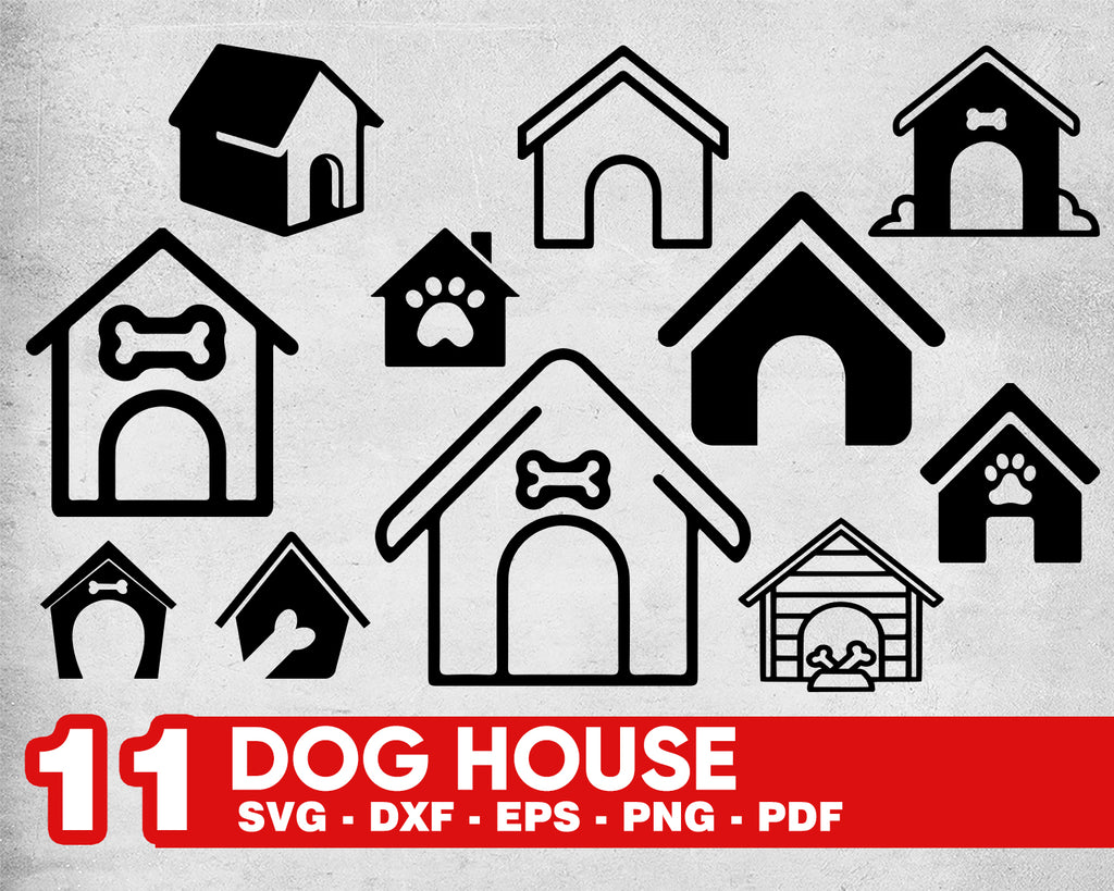 DOG HOUSE SVG, dog house silhouette svg, dog house clipart, dog house dxf, dog house design, puppy svg, wood house svg, cameo svg, decal