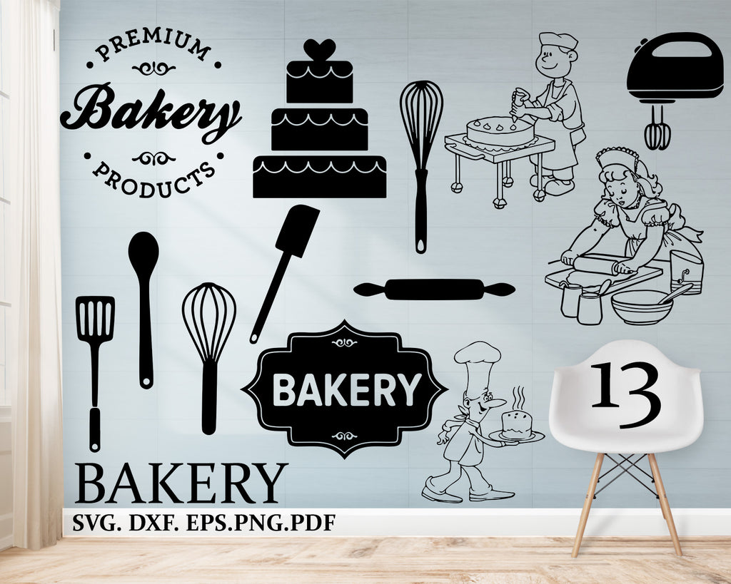 Bakery svg, bread croissant donats SVG DXF PNG eps Cut File vinyl decal Cricut Design, Silhouette studio, Sure Cuts A Lot, instant download