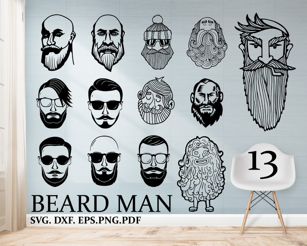 Beard man svg, Beard Face SVG, Beard Face Clipart, Cut Files For Silhouette, Files for Cricut, Vector, Beard Svg, Dxf, Png, Design