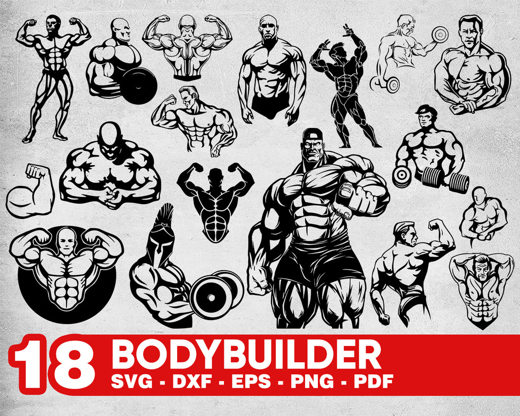 Bodybuilder svg, Bodybilding silhouette cut file, Muscular man svg, Vector graphic svg, Printable bodybuilder, Fitness muscled png, dxf, svg