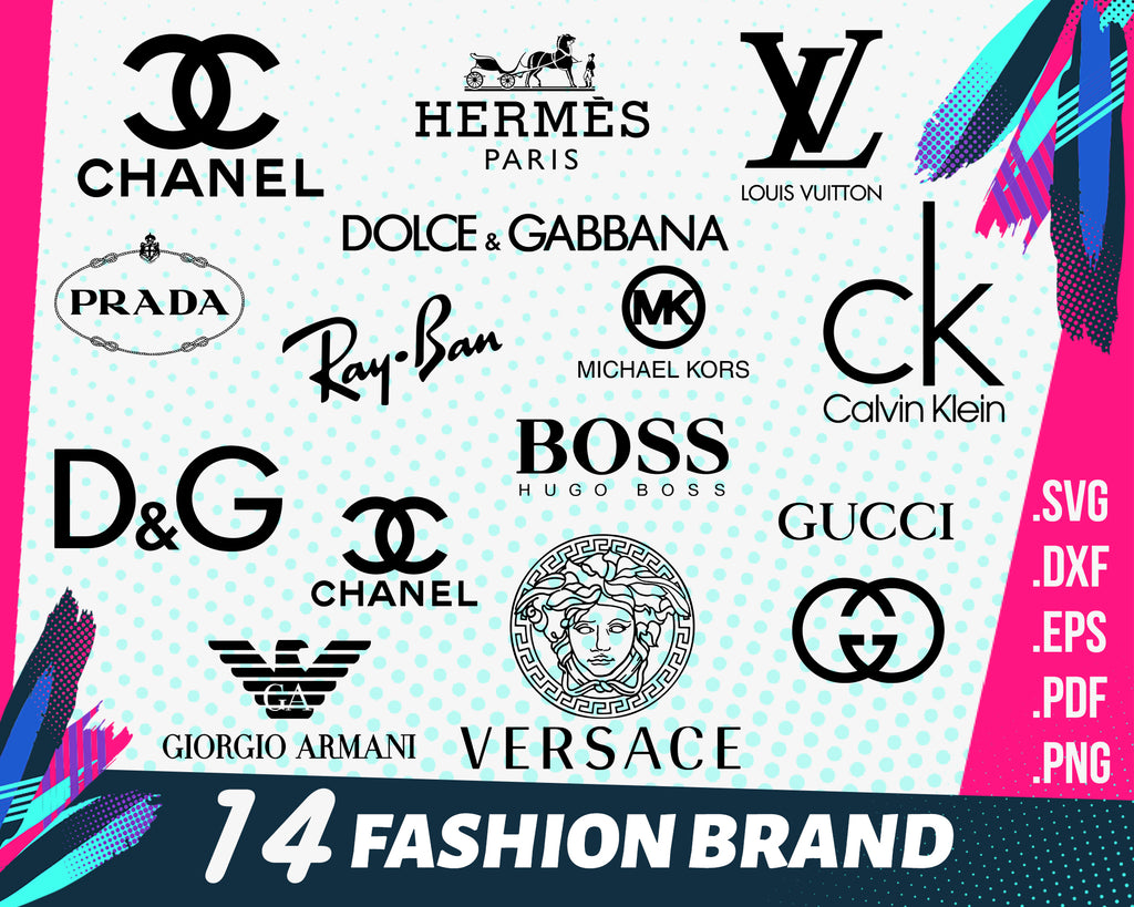 Fashion brand svg, LOGO Fashion brand BUNLDE: Louis Vuitton svg, Chanel svg, Burberry svg, Prada svg, Gucci svg, Hermes Paris svg, Dior svg, png, dxf,eps