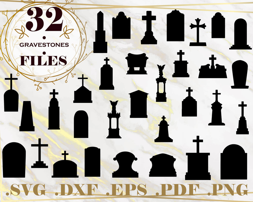 GRAVESTONES SVG - Gravestone Silhouettes - Halloween Graphic - Digital download - svg - eps - png - dxf - Cricut - Cameo - Files for cutting machines - Instant Download