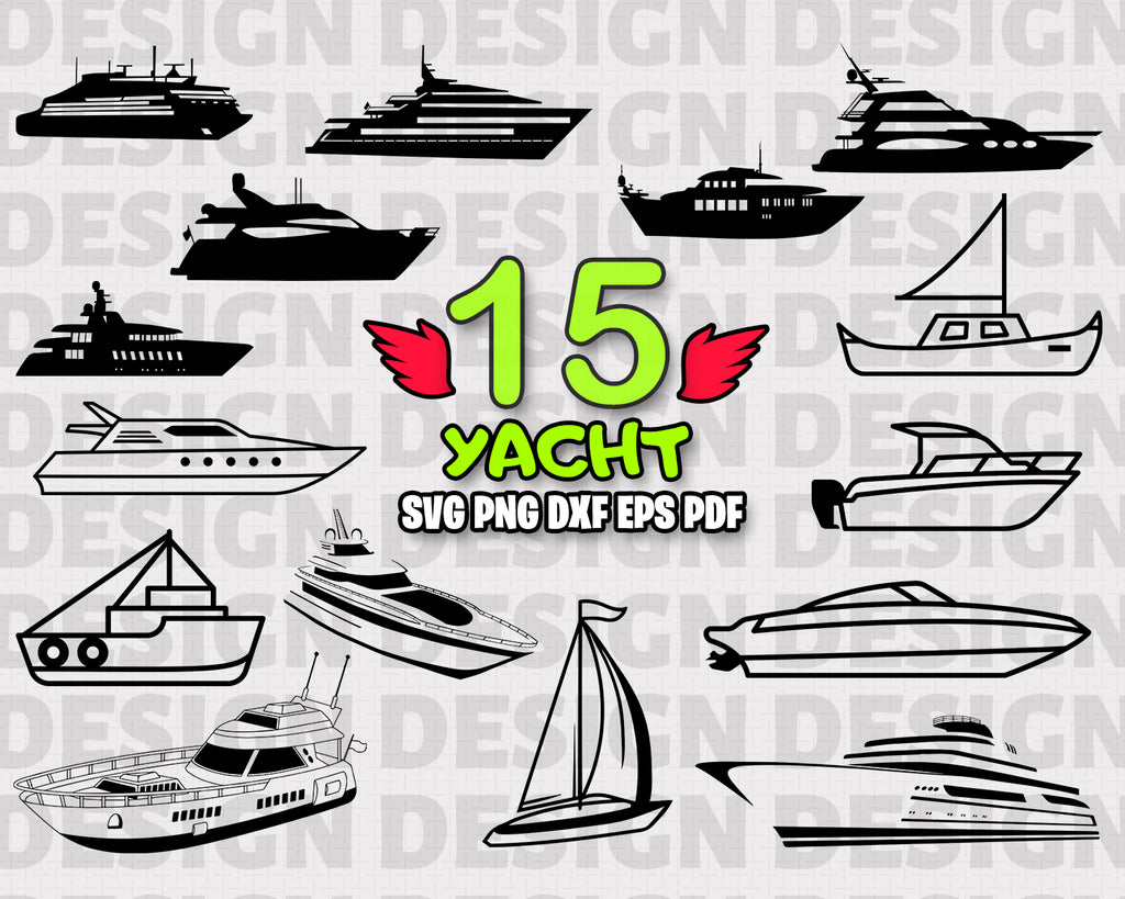 Yacht SVG, Speed Boat Svg, Yacht Svg, Motor Boat Svg, Speed Boat Clipart, Yacht Files for Cricut, Cut Files For Silhouette, Dxf, Png, Transport, Vinyl design, Digital Download