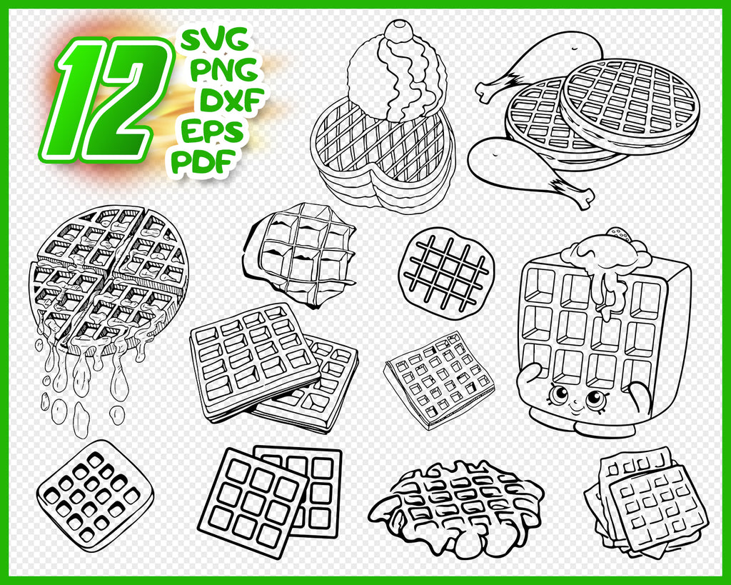 Waffles SVG, Breakfast SVG, Waffles Clipart, Waffles Files for Cricut, Waffles Cut Files For Silhouette, Waffles Dxf, Png, Eps, Vector