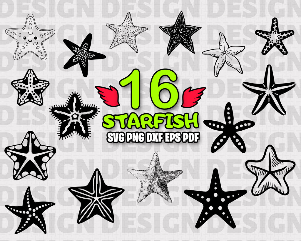 Starfish SVG Bundle, Starfish Vector, Starfish Clipart, Cut Files For Silhouette, Files for Cricut, Starfish Vector, Svg, Dxf, Png, Eps, Vinyl Design, Instant Download