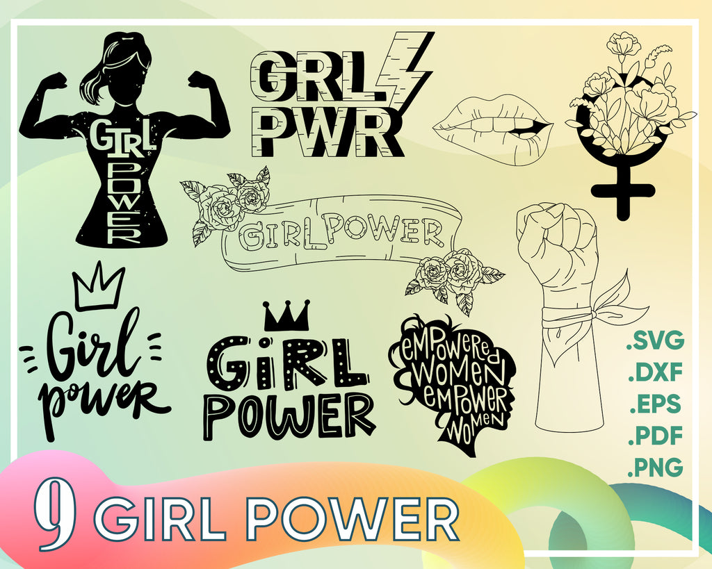 Girl Power SVG eps png dxf Cutting file Silhouette Cricut Rosie SVG Pin up Svg Rosie the Riveter Strong woman svg Girl svg Mom svg Vector