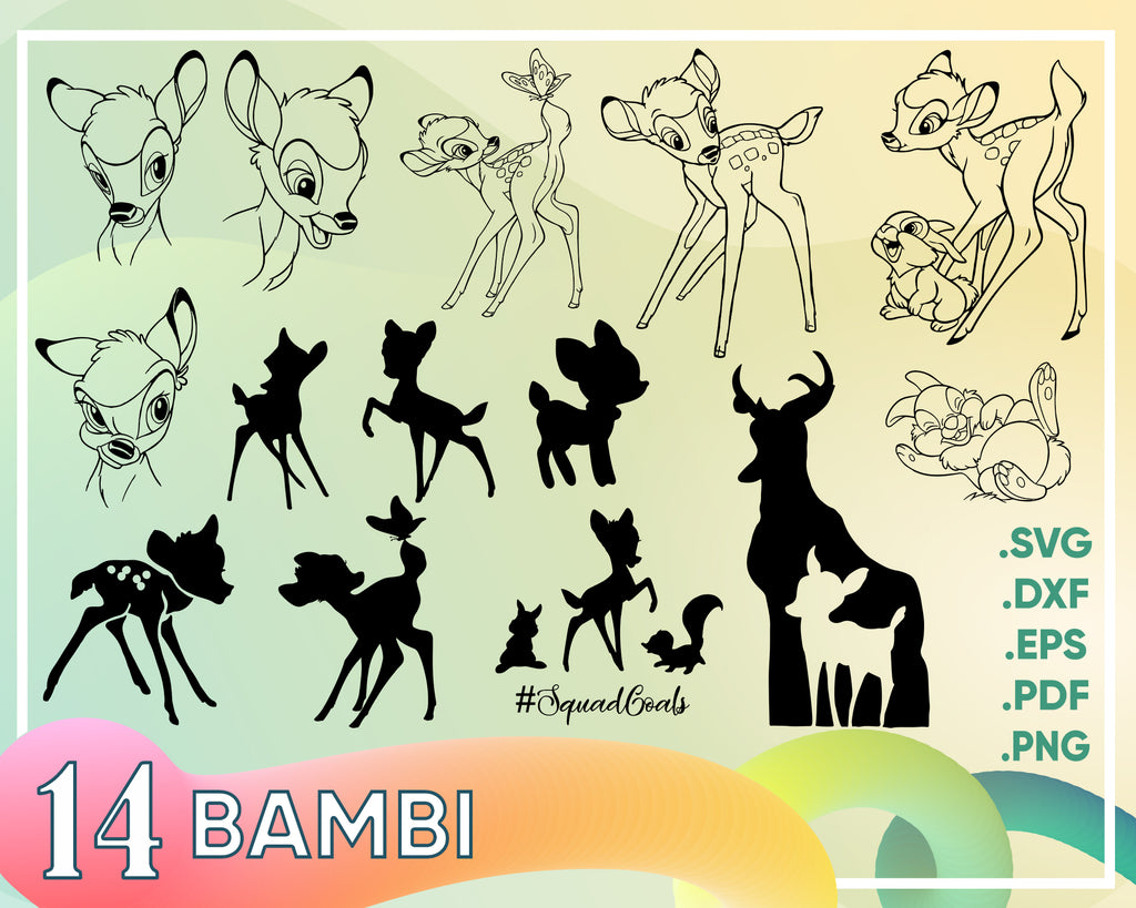 Bambi Svg, Bambi Cutfiles, Tambor Svg, Bambi svg, Dxf, Eps & Png Clipart, Bambi characters for Cricut, Silhouette cameo