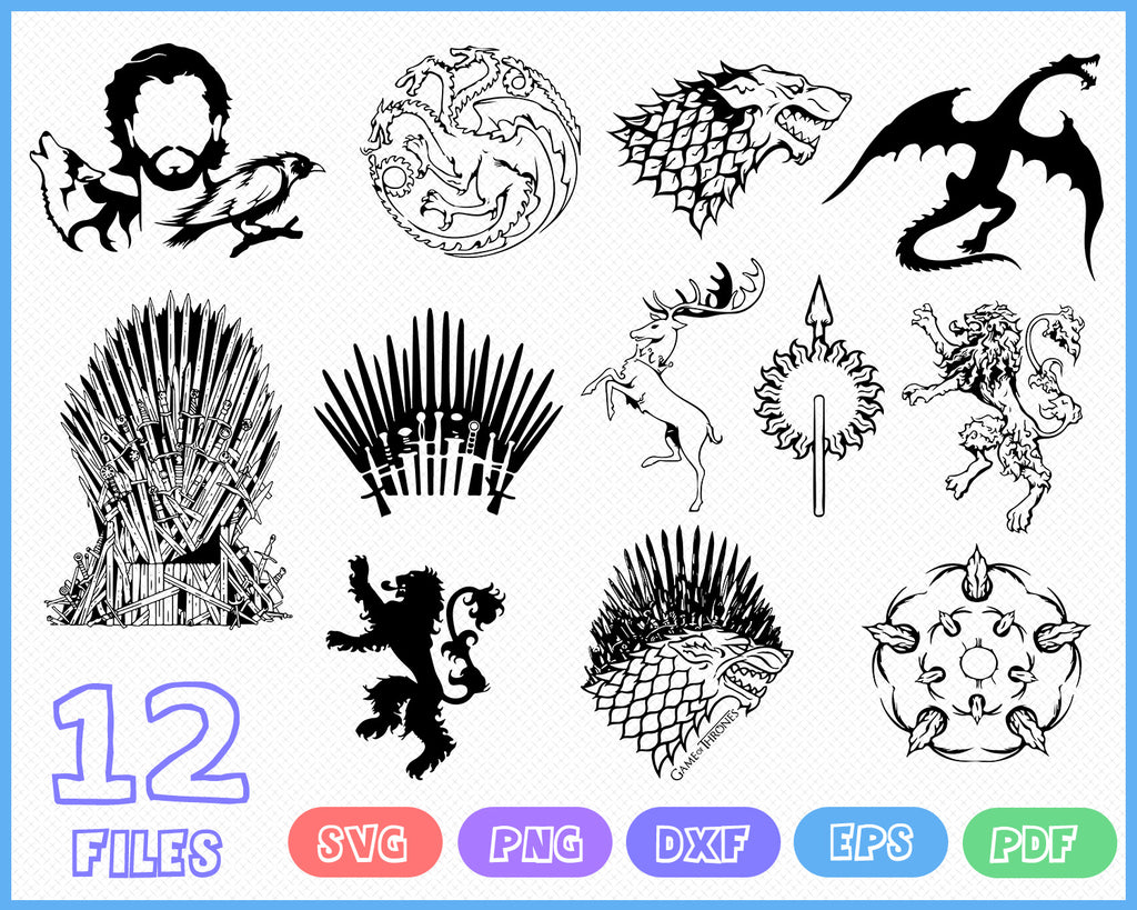 Game Of Thrones Svg Dxf Clipart Vector Printable Wall Art Decal Symbol Clipartic