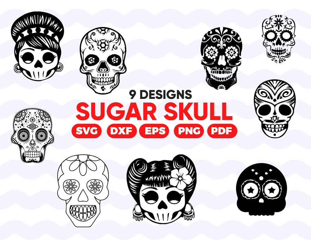 Sugar skull svg, Sugar Skull SVG collection,Candy Skull Svg Dxf, Sugar Skull Black&White,Day of the Dead,Skull outline,Silhouette cameo Files svg jpg png dxf