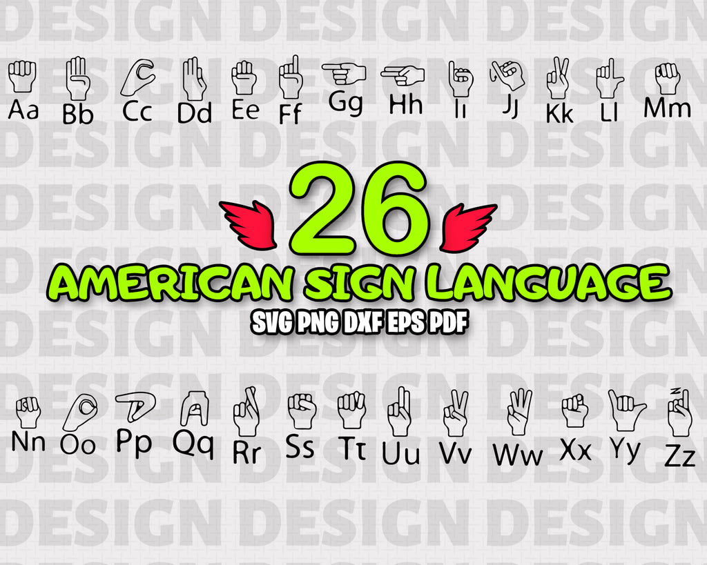 American sign language SVG, American Sign Language Font, American Sign Language Alphabet, Deaf Font, Instant Download