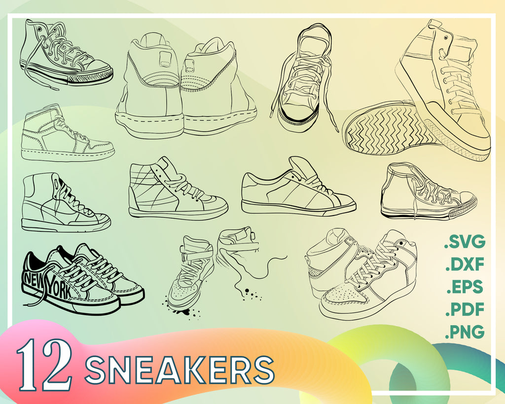SNEAKERS SVG, shoes svg, sneaker svg, sneakers clipart, sneakers silhouette, running shoes svg, sneakers cut file, shoe svg, footwear svg
