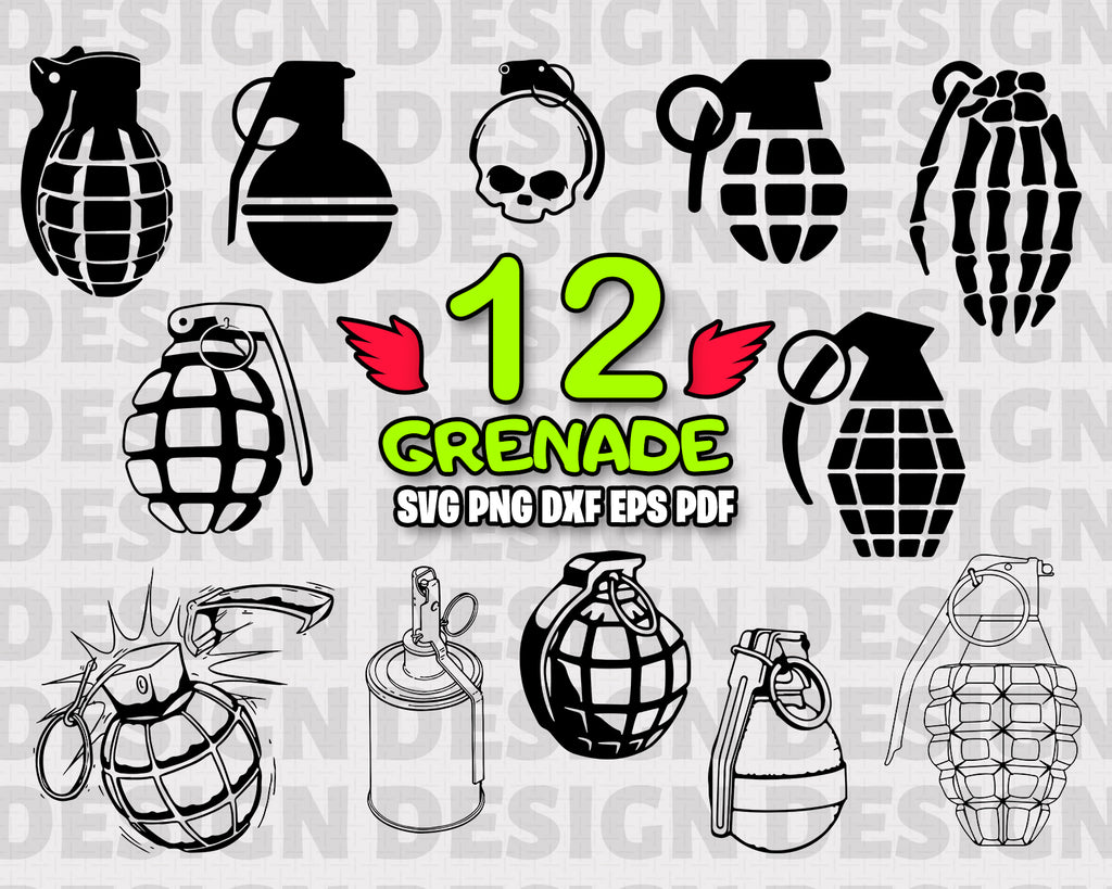 Grenade Svg Design, Hand Grenade Printable Clipart, Grenade Svg Cutting File, Grenade Svg Vector, Grenade Clip Art Svg, Grenade Cricut Svg, Vinyl and Print, Instant Download