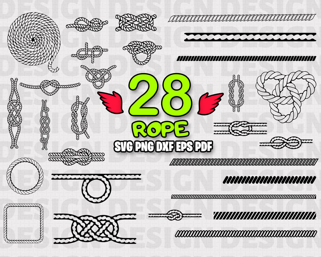 Rope SVG Bundle, Rope SVG, Rope Clipart, Rope Cut Files For Silhouette, Files for Cricut, Rope Vector, Svg, Dxf, Rope Png, Eps, Rope Design