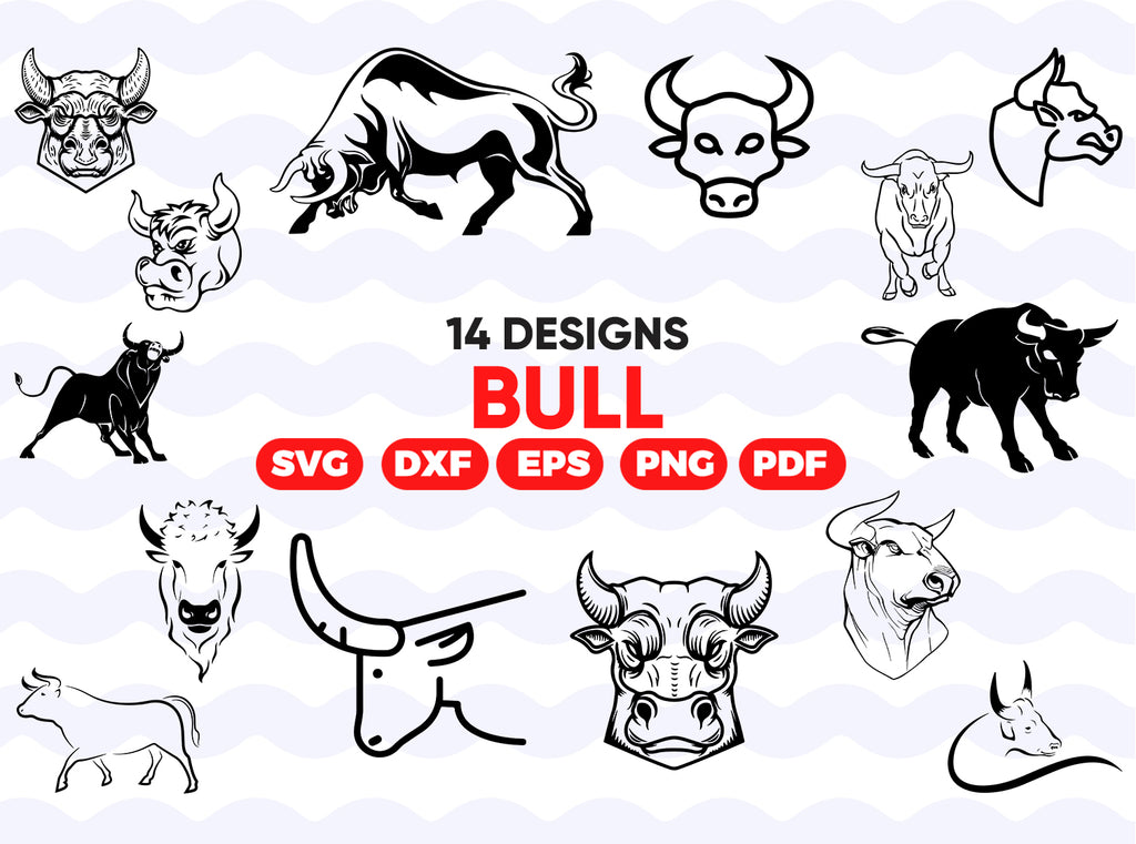Bull svg,Bull skull silhouette SVG cutting files for Cricut and Silhouette Cameo - Bull skull png clipart -skull silhouette dxf vector files -