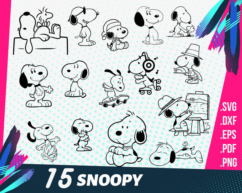 Snoopy svg, Snoopy Svg, Snoopy Bundle svg, Snoopy Characters svg, Snoopy dxf cut files, Snoopy silhouette svg, Snoopy PNG