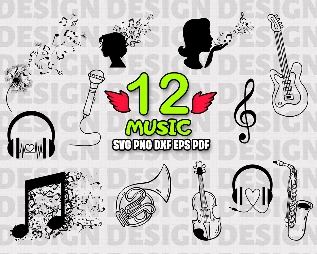 Music SVG, Music Clipart, Music Clip Art, Music Svg, Love Music Theme, Music Digital File, Scrapbook Music, Printable Music Notes, Music Vector Image, Vinyl and Craft, Instant Download