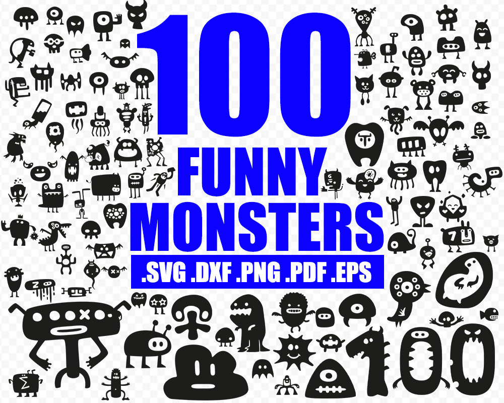 Funny monsters silhouette, funny monsters vector, funny monsters svg