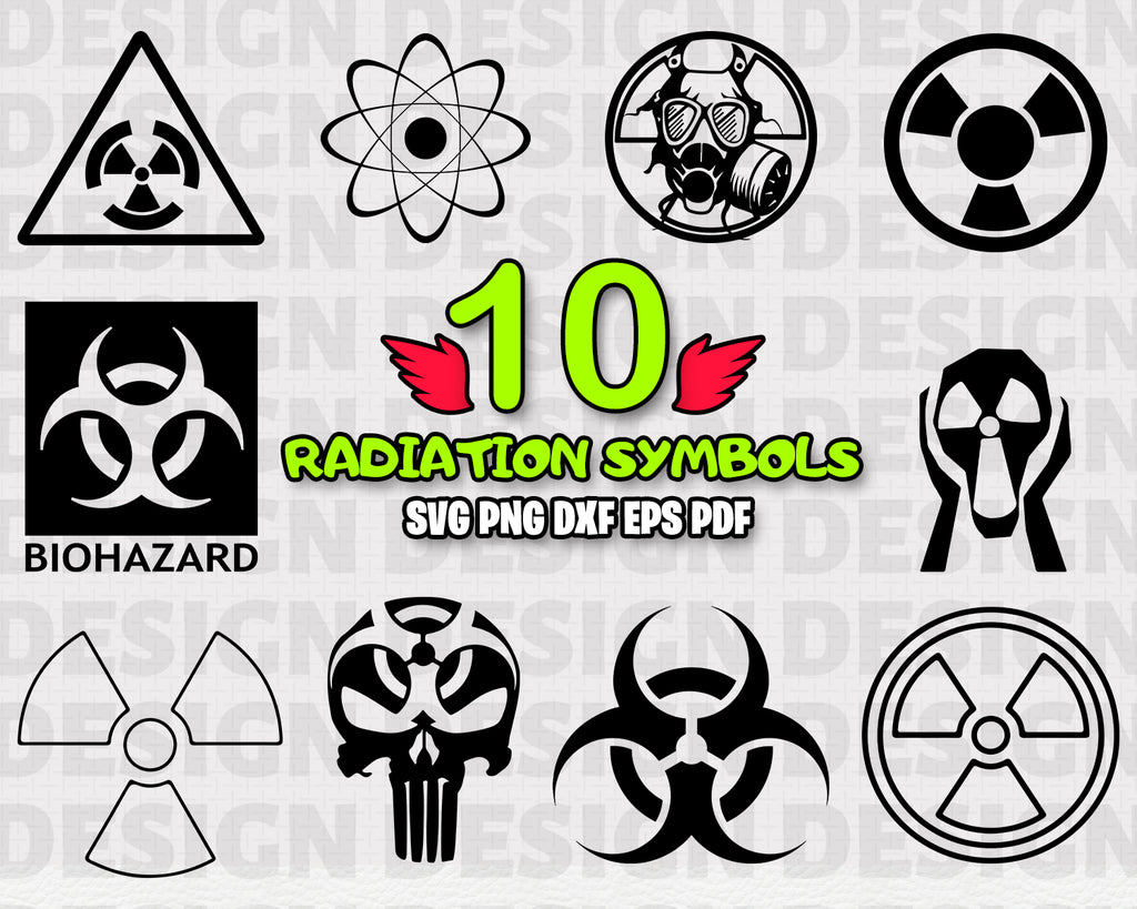 Radiation Symbols SVG, Danger Clipart, Vector, DXF, Silhouette, Cricut, Cut File, Warning sign svg, Nuclear sign svg, Warning sign bundle, Attention sings, Files for Crafters, Vinyl Print, Instant Download