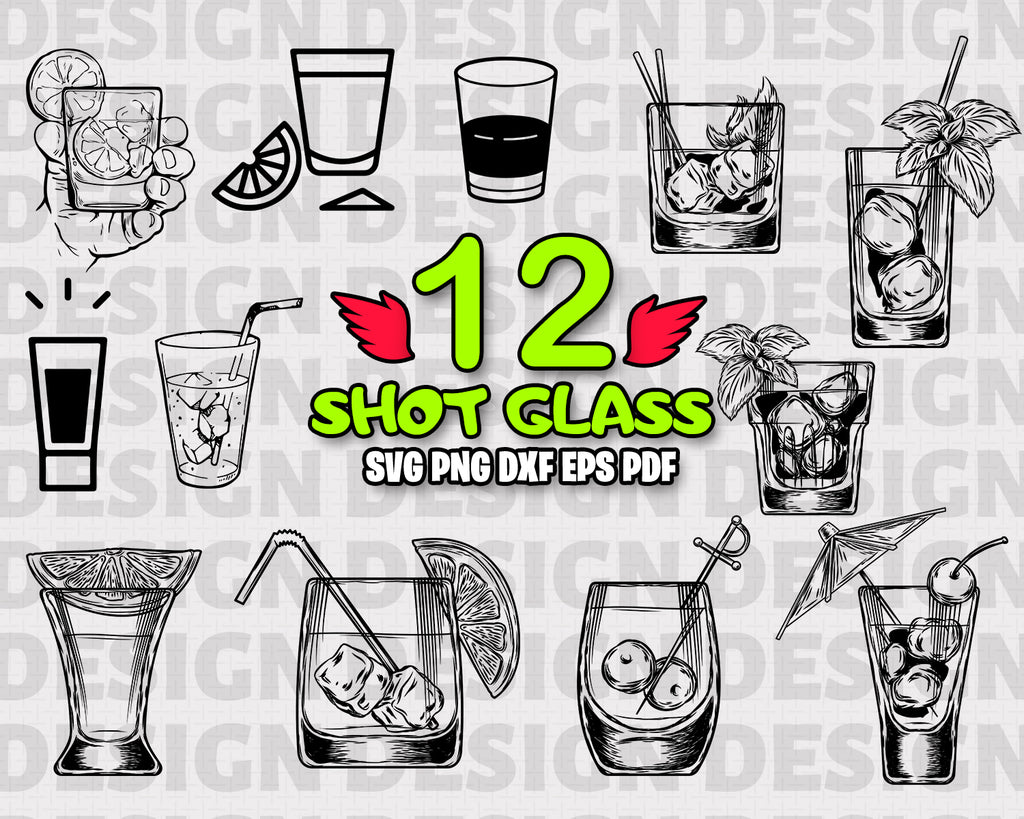 Shot Glass SVG, Shot Glass Silhouette, Glasses Svg Bundle, Shot Glasses Vector, monogram, scrapbooking, Drink glasses svg, Cutting files
