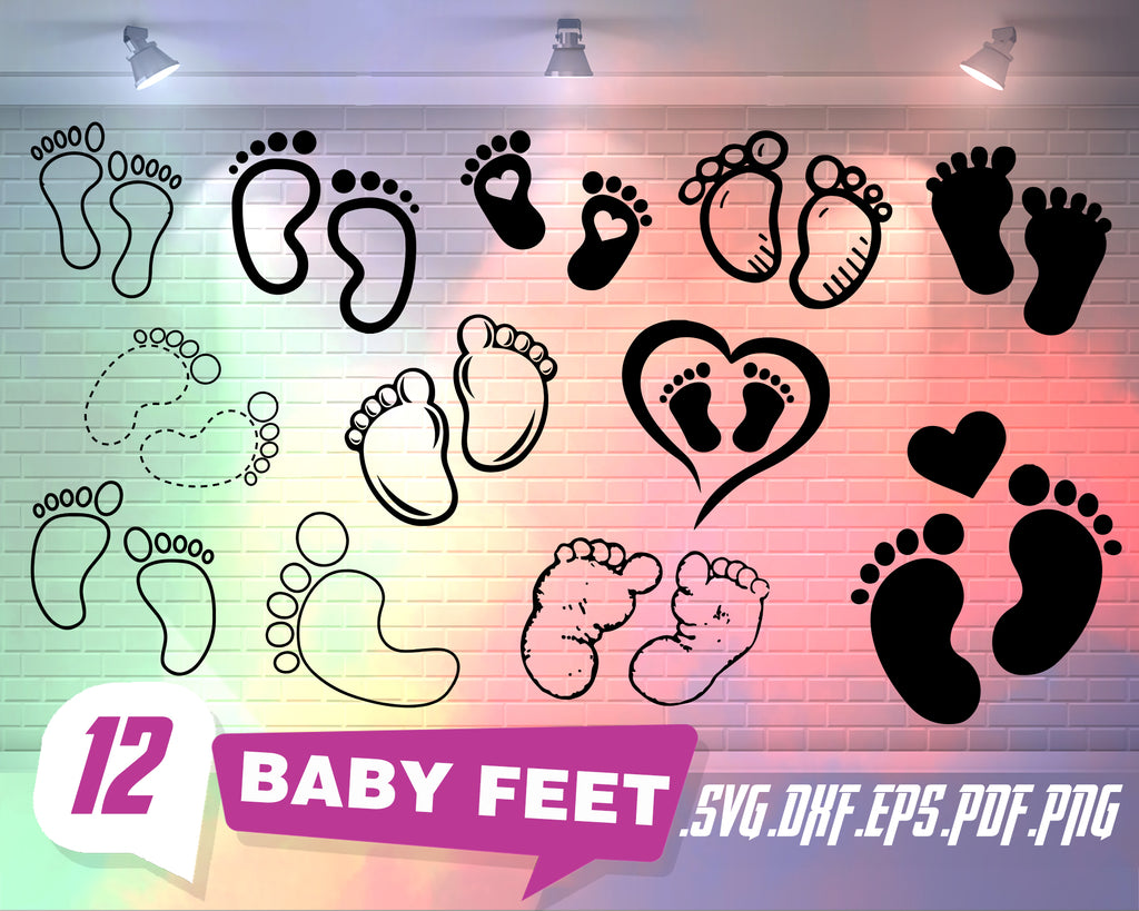 Baby feet svg, baby feet svg, svg files, new baby silhouette svg cutting file, bundle, baby svg, baby svg files, eps, png, dxf, svg, commercial use