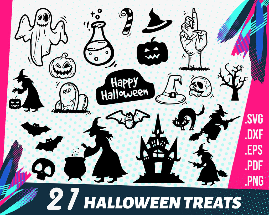 Halloween Treats svg, Halloween Bundle SVG, Big Halloween SVG Bundle, Witch SVG Bundle, Spooky Bundle - Scary - Pumpkin - Cricut and Silhouette Studio