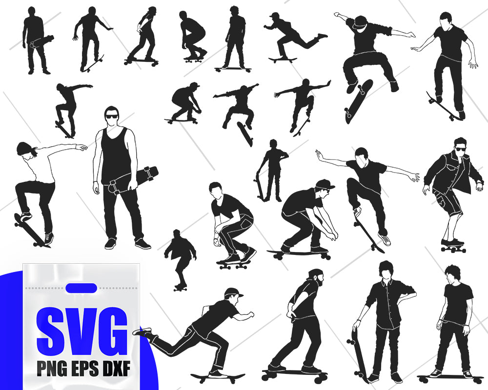 Skateboarding SVG, Skateboard SVG, Skateboarding Clipart, Cut Files For Silhouette, Files for Cricut, Vector, Svg, Dxf, Png, Eps, Design